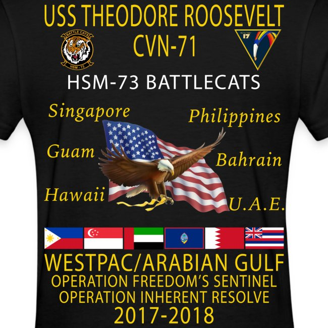 HSM-73 w/ USS THEODORE ROOSEVELT 2017-18 WOMENS CRUISE SHIRT