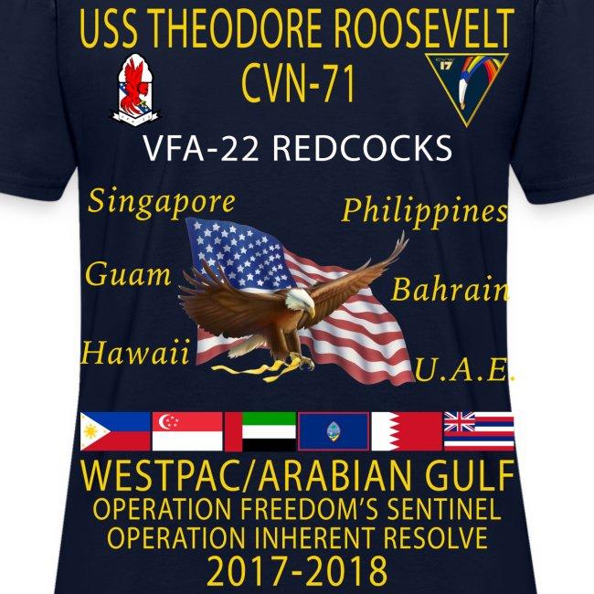 VFA-22 w/ USS THEODORE ROOSEVELT 2017-18 WOMENS CRUISE SHIRT