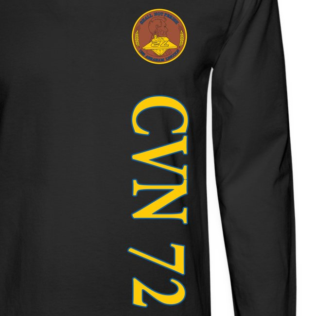 USS ABRAHAM LINCOLN CVN-72  STRIPE LONG SLEEVE w/ USA FLAG SLEEVE PRINT