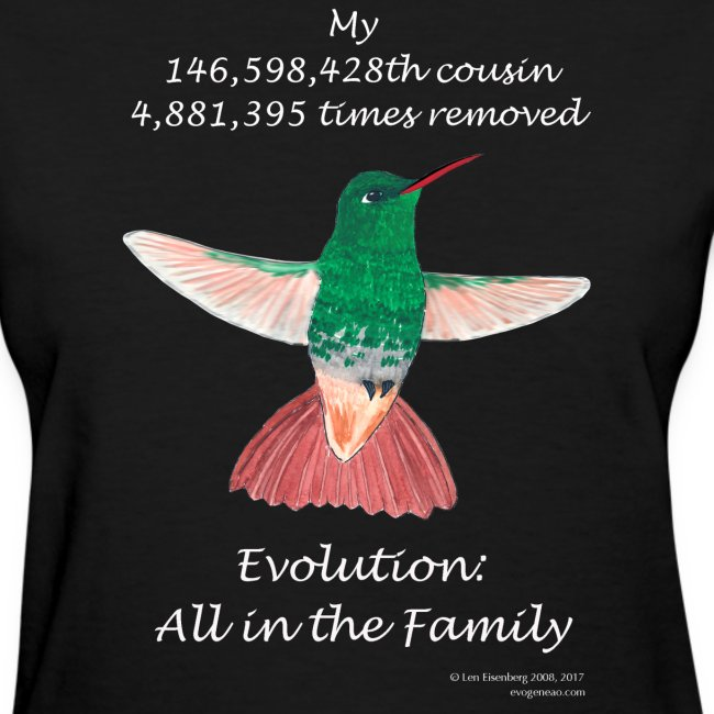 Women's hummingbird black tee