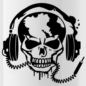 Skull with headphones. Accessories - Water Bottle