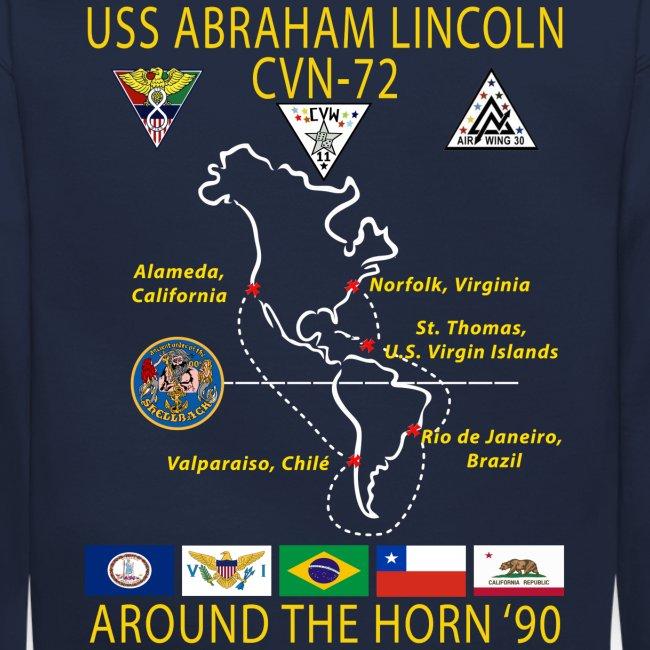 USS ABRAHAM LINCOLN CVN-72 AROUND THE HORN 1990 CRUISE SWEATSHIRT