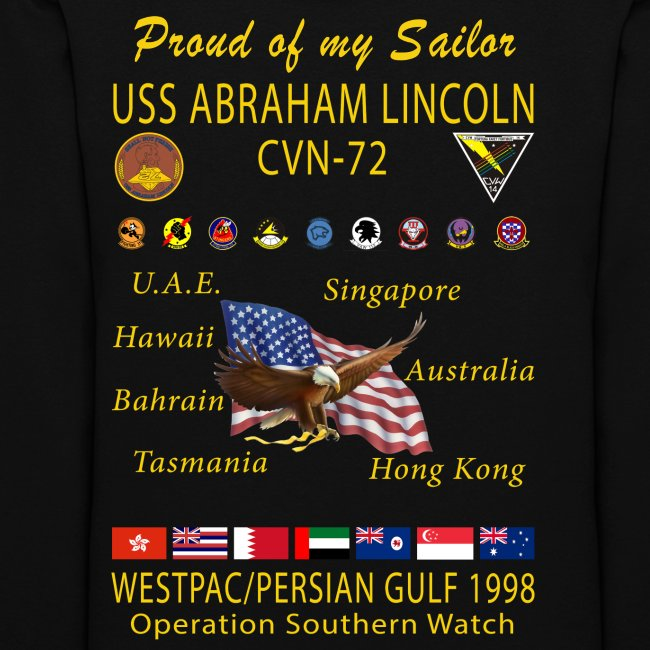 USS ABRAHAM LINCOLN CVN-72 WESTPAC 1998 WOMENS CRUISE HOODIE - FAMILY EDITION
