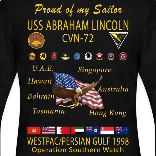 USS ABRAHAM LINCOLN CVN-72 WESTPAC 1998 WOMENS LONG SLEEVE CRUISE SHIRT - FAMILY EDITION