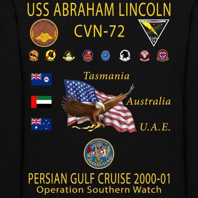 USS ABRAHAM LINCOLN CVN-72 PERSIAN GULF CRUISE 2000-01 WOMENS CRUISE HOODIE