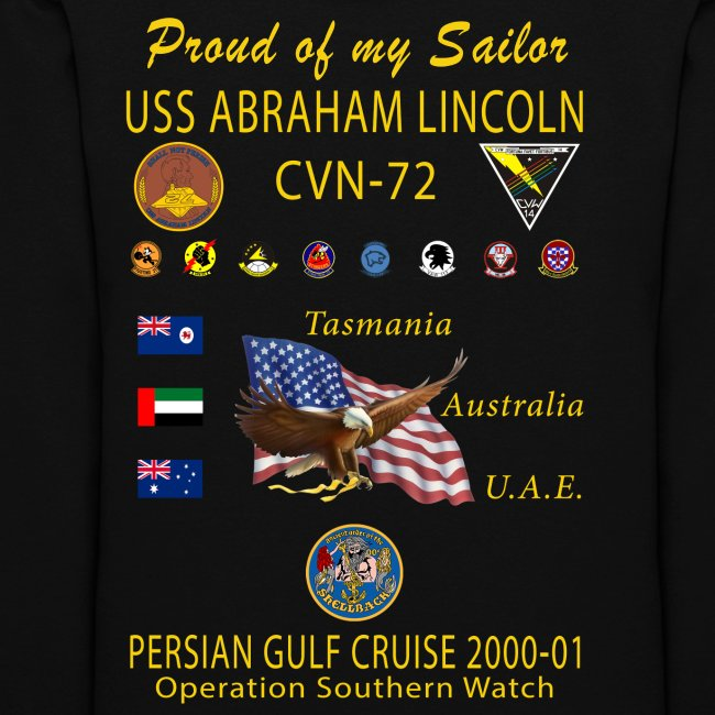 USS ABRAHAM LINCOLN CVN-72 PERSIAN GULF CRUISE 2000-01 WOMENS CRUISE HOODIE - FAMILY EDITION