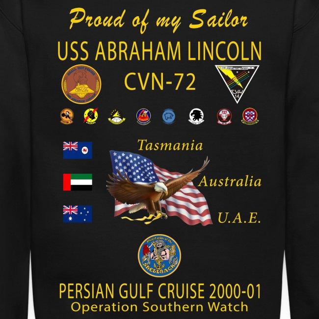 USS ABRAHAM LINCOLN CVN-72 PERSIAN GULF CRUISE 2000-01 CRUISE SWEATSHIRT - FAMILY EDITION