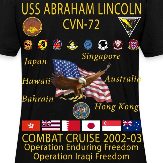 USS ABRAHAM LINCOLN CVN-72 WESTPAC 2002-03 WOMENS CRUISE SHIRT