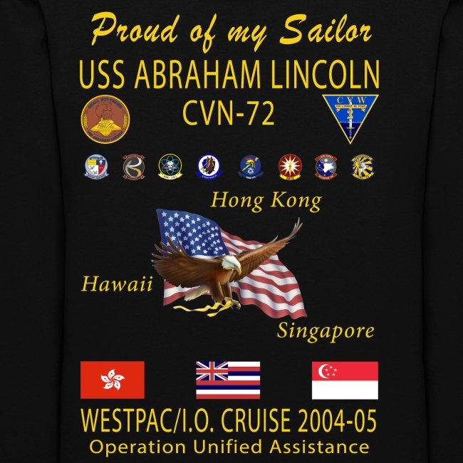 USS ABRAHAM LINCOLN CVN-72 WESTPAC 2004-05 WOMENS CRUISE HOODIE - FAMILY EDITION