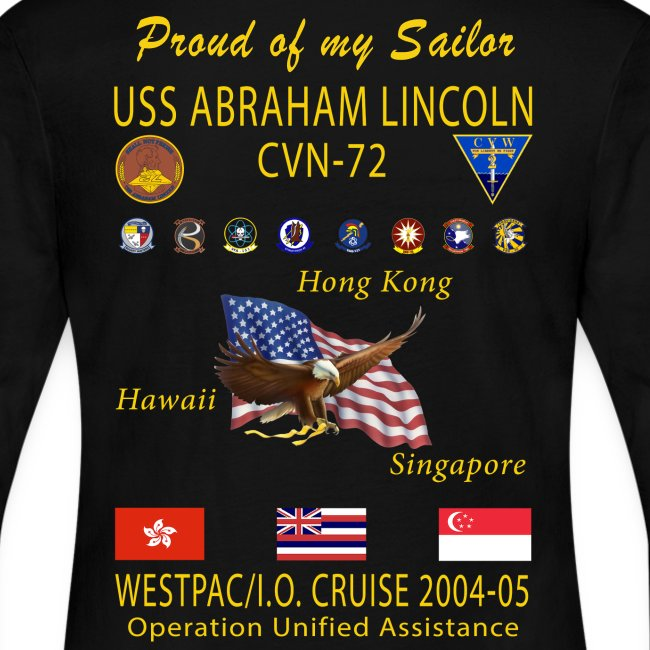 USS ABRAHAM LINCOLN CVN-72 WESTPAC 2004-05 WOMENS LONG SLEEVE CRUISE SHIRT - FAMILY EDITION