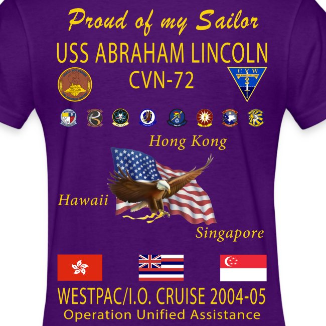 USS ABRAHAM LINCOLN CVN-72 WESTPAC 2004-05 WOMENS CRUISE SHIRT - FAMILY EDITION