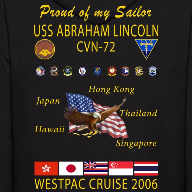 USS ABRAHAM LINCOLN CVN-72 WESTPAC 2006 HOODIE - FAMILY EDITION