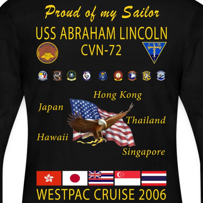 USS ABRAHAM LINCOLN CVN-72 WESTPAC 2006 WOMENS LONG SLEEVE CRUISE SHIRT - FAMILY EDITION