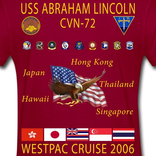 USS ABRAHAM LINCOLN CVN-72 WESTPAC 2006 WOMENS CRUISE SHIRT