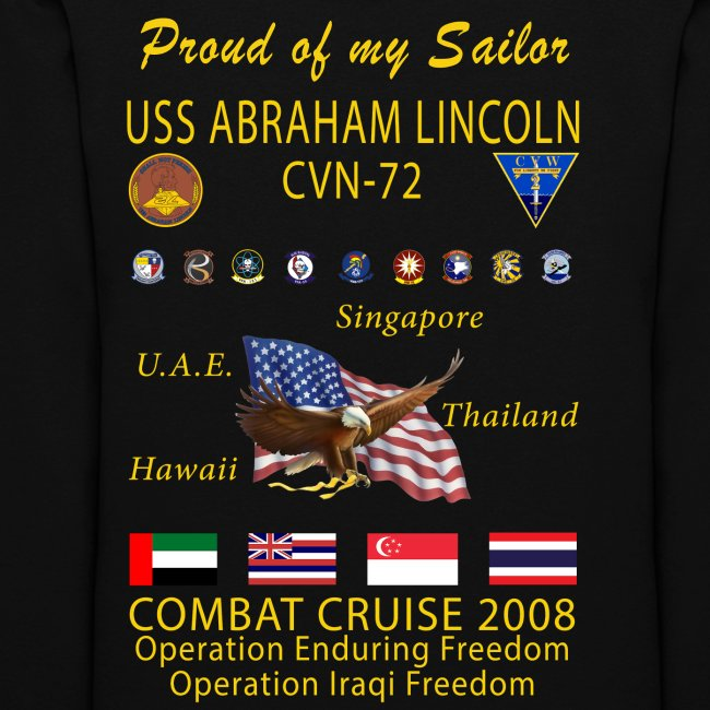 USS ABRAHAM LINCOLN CVN-72 WESTPAC 2008 WOMENS CRUISE HOODIE - FAMILY EDITION
