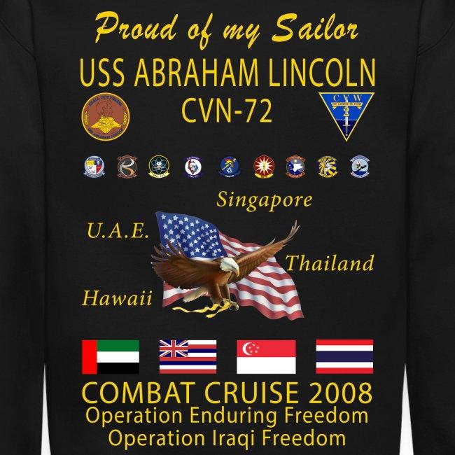 USS ABRAHAM LINCOLN CVN-72 WESTPAC 2008 CRUISE SWEATSHIRT - FAMILY EDITION