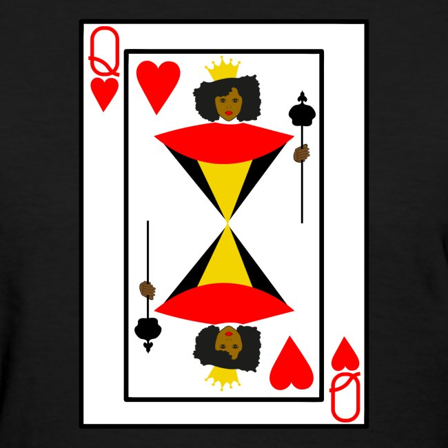 Shirts For Laughs  Black Queen Of Hearts Playing Card T -2196