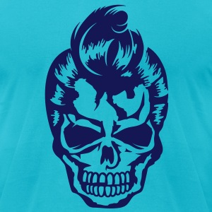 A skull with a 50s haircut T-Shirts - Men's T-Shirt by American Apparel