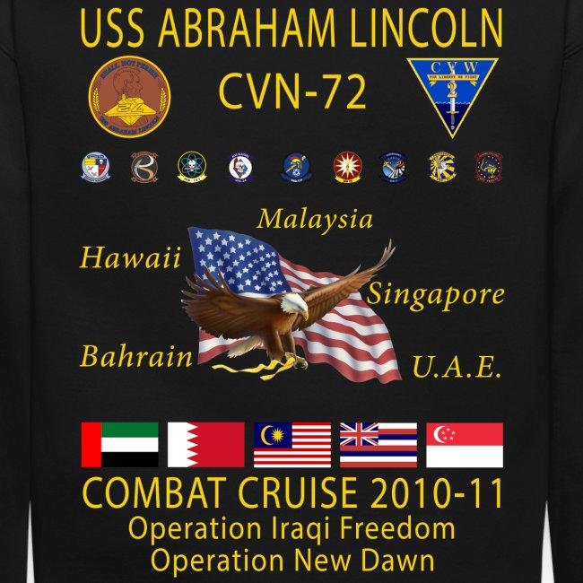 USS ABRAHAM LINCOLN CVN-72 COMBAT CRUISE 2010-11 CRUISE SWEATSHIRT