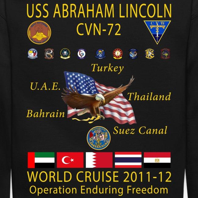 USS ABRAHAM LINCOLN CVN-72 WORLD CRUISE 2011-12 CRUISE SWEATSHIRT