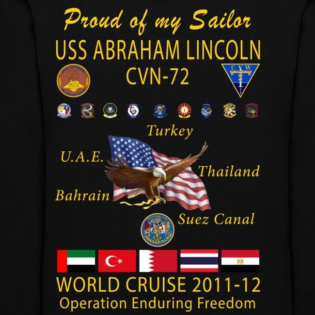 USS ABRAHAM LINCOLN CVN-72 WORLD CRUISE 2011-12 WOMENS HOODIE - FAMILY EDITION