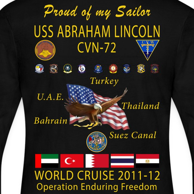 USS ABRAHAM LINCOLN CVN-72 WORLD CRUISE 2011-12 WOMENS LONG SLEEVE CRUISE SHIRT- FAMILY EDITION