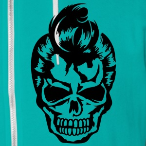 A skull with a 50s haircut Zip Hoodies/Jackets - Unisex Fleece Zip Hoodie by American Apparel