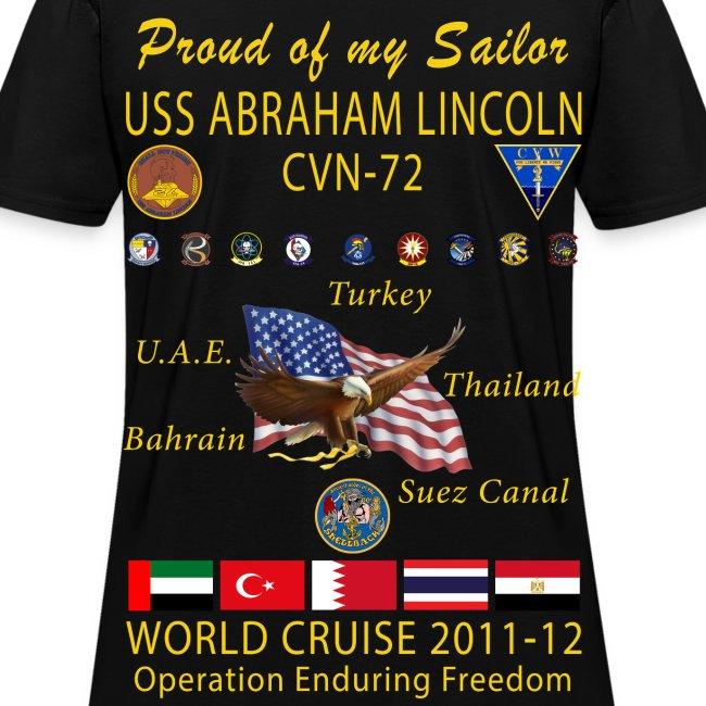 USS ABRAHAM LINCOLN CVN-72 WORLD CRUISE 2011-12 WOMENS CRUISE SHIRT - FAMILY EDITION