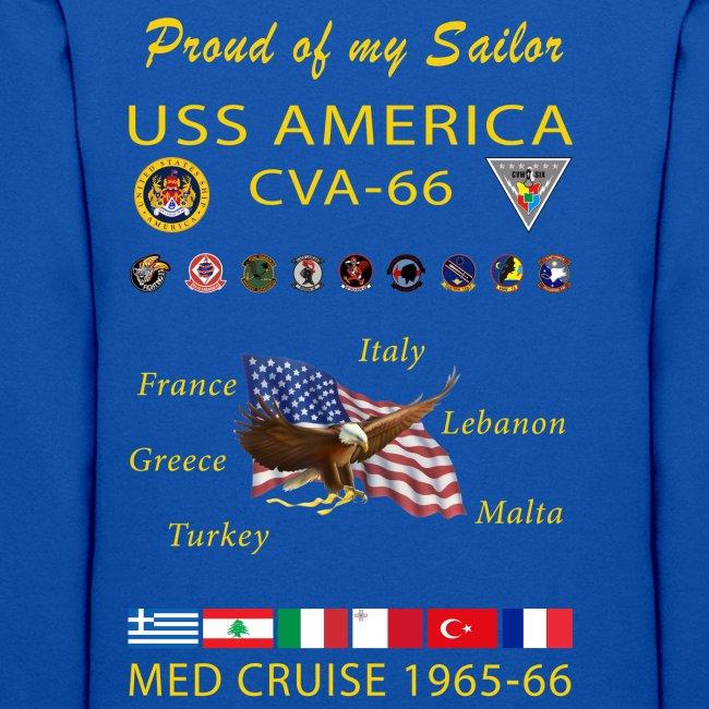 USS AMERICA CVA-66 1965-66 WOMENS CRUISE HOODIE - FAMILY