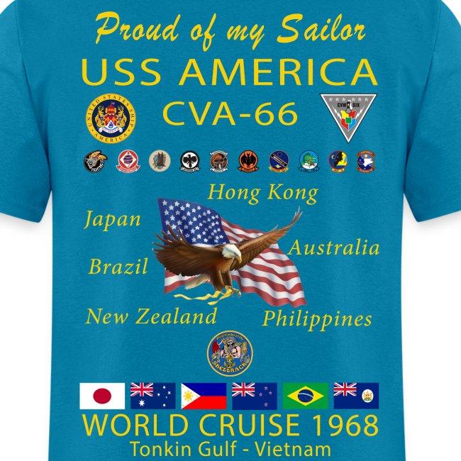 USS AMERICA CVA-66 1968 CRUISE SHIRT - FAMILY