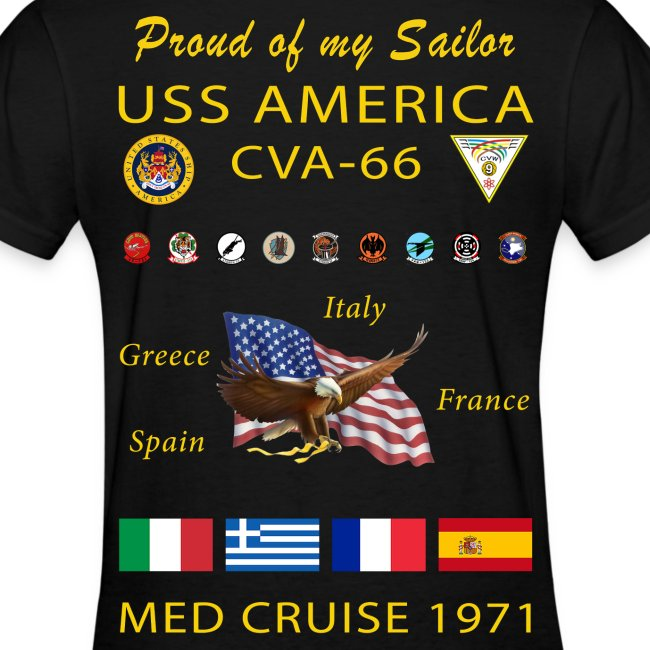 USS AMERICA CVA-66 1971 WOMENS CRUISE SHIRT - FAMILY