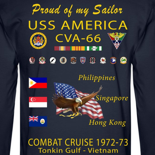 USS AMERICA CVA-66 1972-73 LONG SLEEVE CRUISE SHIRT - FAMILY