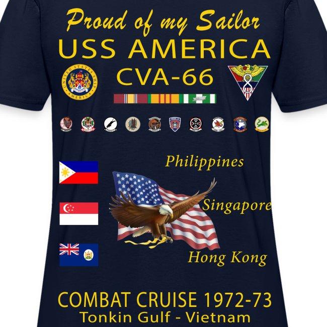 USS AMERICA CVA-66 1972-73 WOMENS CRUISE SHIRT - FAMILY