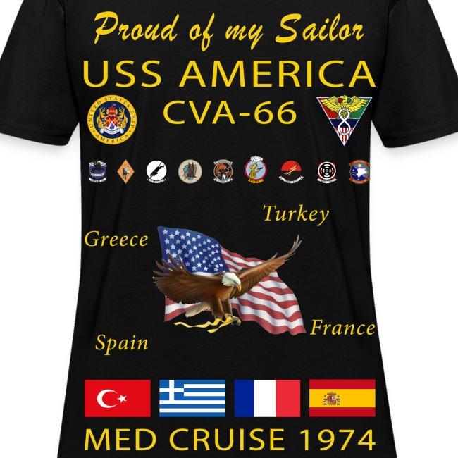 USS AMERICA CVA-66 1974 WOMENS CRUISE SHIRT - FAMILY