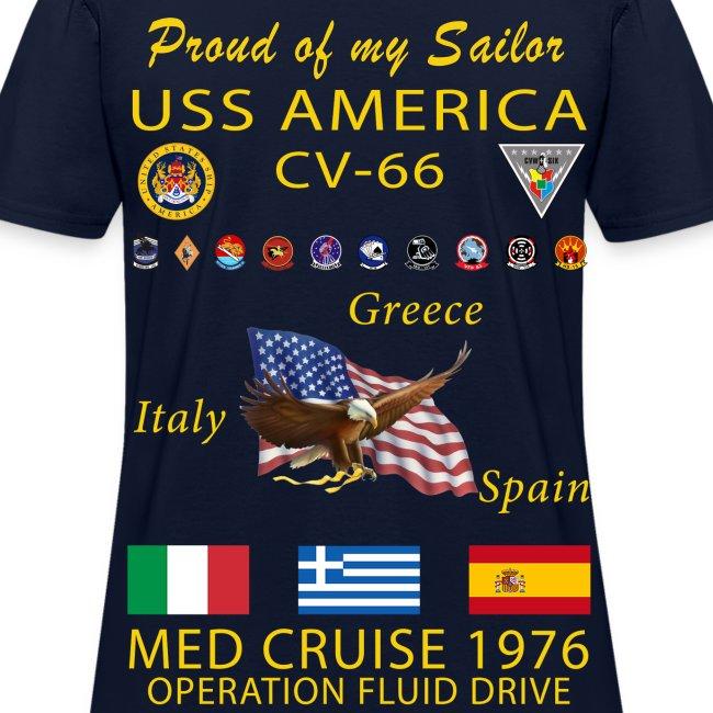 USS AMERICA CV-66 1976 WOMENS CRUISE SHIRT - FAMILY
