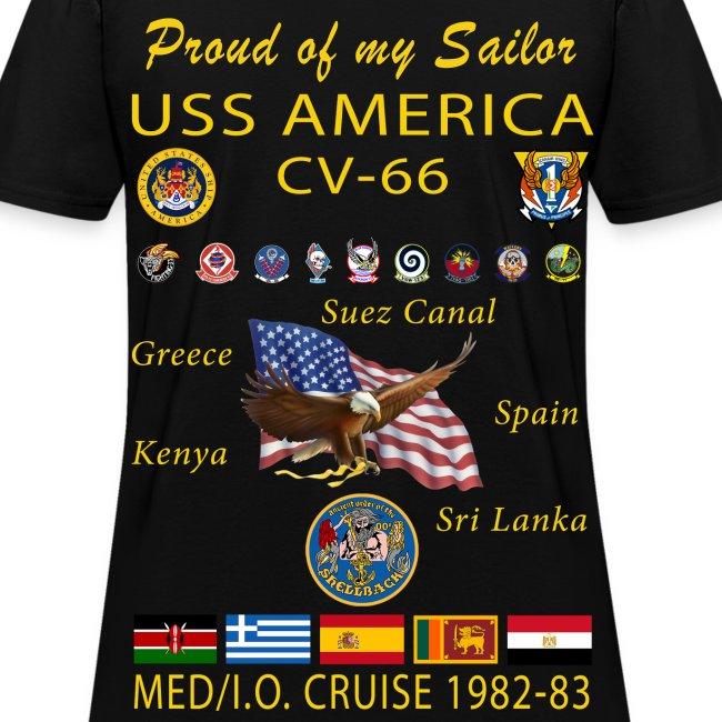 USS AMERICA CV-66 1982-83 WOMENS CRUISE SHIRT - FAMILY