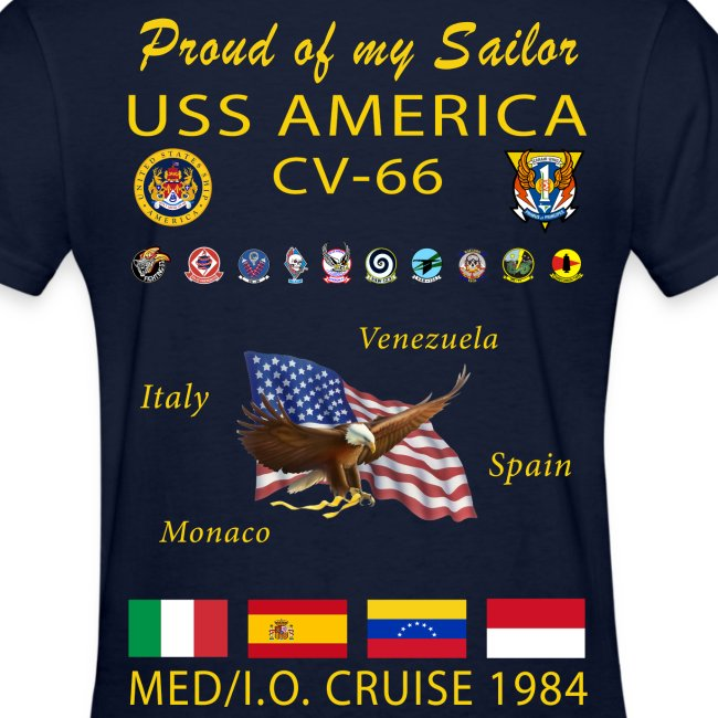 USS AMERICA CV-66 1984 WOMENS CRUISE SHIRT - FAMILY
