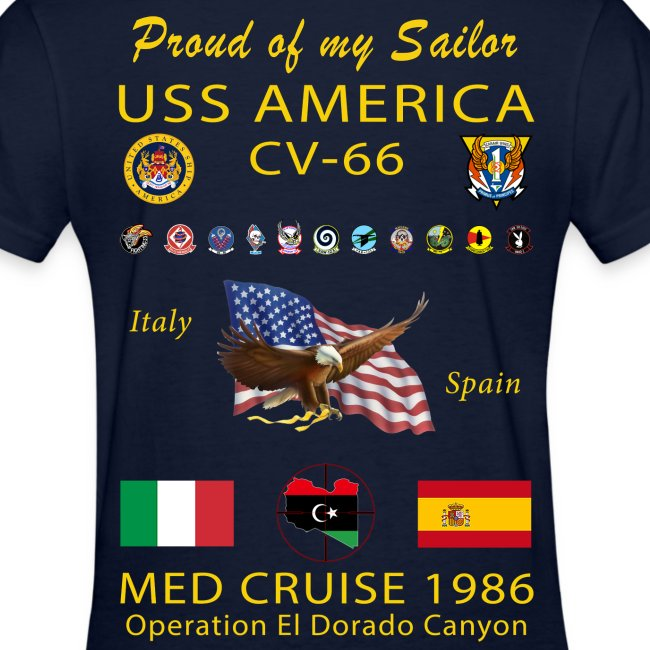 USS AMERICA CV-66 1986 WOMENS CRUISE SHIRT - FAMILY