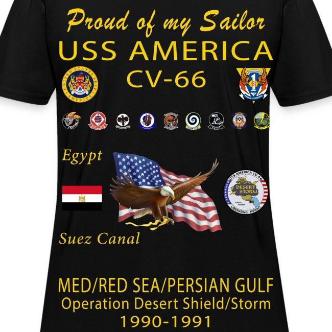 USS AMERICA CV-66 1990-91 Operation Desert Shield/Storm (ver 1) WOMENS CRUISE SHIRT - FAMILY