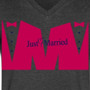 JUST MARRIED T-Shirts - Men's V-Neck T-Shirt by Canvas