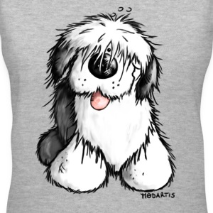 Bobbie - Old English Sheepdog T-Shirt. - Women's V-Neck T-Shirt