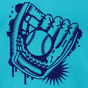 A baseball glove with a baseball T-Shirts - Men's T-Shirt by American Apparel