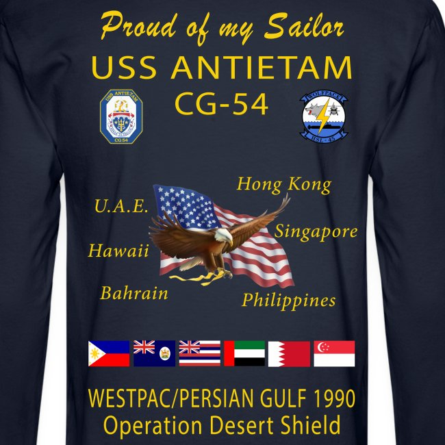 USS ANTIETAM CG-54 1990 DESERT STORM CRUISE LONG SLEEVE - FAMILY