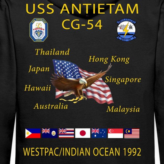 USS ANTIETAM CG-54 1992 CRUISE HOODIE