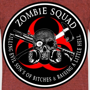 Biohazard Zombie Squad 3 Ring Patch outlined T-Shirts - Unisex Tri-Blend T-Shirt by American Apparel