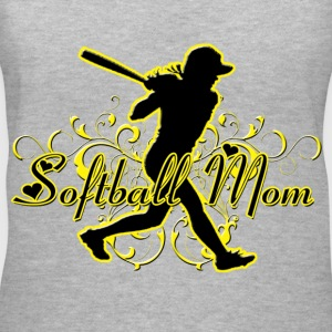 Softball Mom (silhouette) Women's T-Shirts - Women's V-Neck T-Shirt