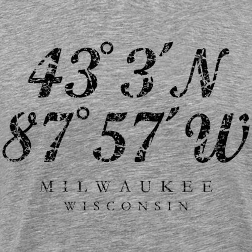 Milwaukee, Wisconsin Coordinates (Ancient Black)