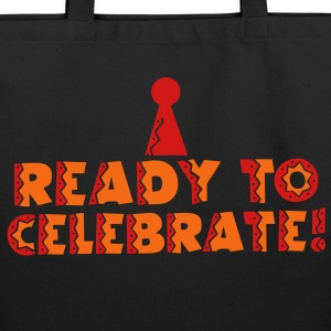 READY to celebrate with symbol of party hat Bags & backpacks - Eco-Friendly Cotton Tote