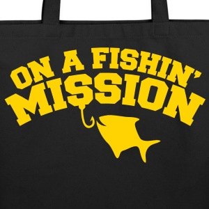 On a FISHIN' MISSION (Fishing fish with a hook) Bags & backpacks - Eco-Friendly Cotton Tote