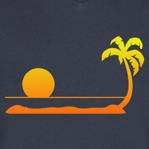 Tropical Sunset T-Shirts - Men's V-Neck T-Shirt by Canvas